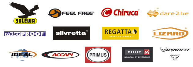 Salewa, Regatta, Feel Free, Dare2Be, Chiruca, Ideal, Dynafit, Silvretta, Lizard, WaterProof, Primus, Accapi